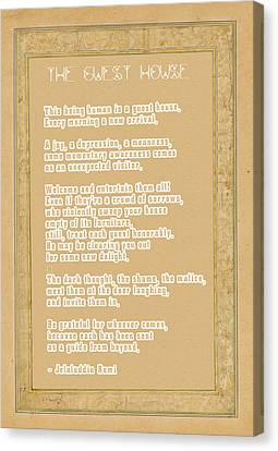 The Guest House Poem By Rumi Canvas Print