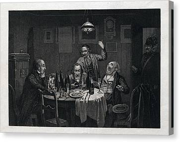 The Guests, 1864, Food And Drink, Table, Bottle, Bottles Canvas Print by English School