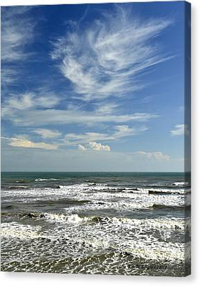 The Gulf Of Mexico From Galveston Canvas Print by Allen Sheffield