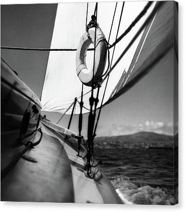 The Gunwale Of A Sailboat Canvas Print by George Platt Lynes
