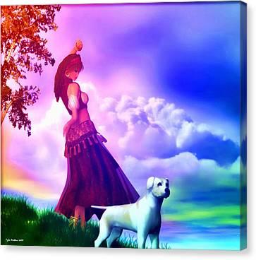 Gypsy Canvas Print - The Gypsy And Her Dog Gypsy by Tyler Robbins