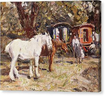 The Gypsy Encampment Canvas Print by Harry Fidler