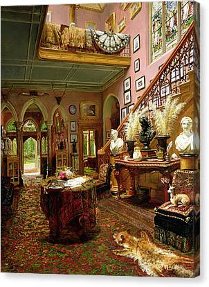 The Hall And Staircase Of A Country Canvas Print
