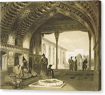 The Hall Of Mirrors In The Palace Canvas Print by Grigori Grigorevich Gagarin