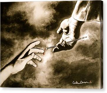 Canvas Print featuring the drawing The Hand Of God by Carla Carson