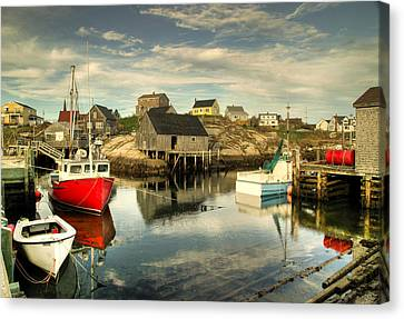 Rights Managed Images Canvas Print - The Harbour At Peggys Cove by Rob Huntley