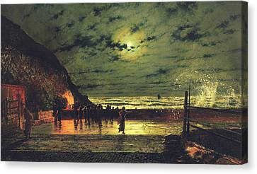 The Harbour Flare Canvas Print by John Atkinson Grimshaw