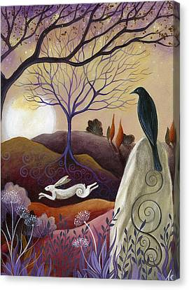 The Hare And Crow Canvas Print by Amanda Clark