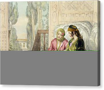The Harem, Plate 1 From Illustrations Canvas Print by John Frederick Lewis