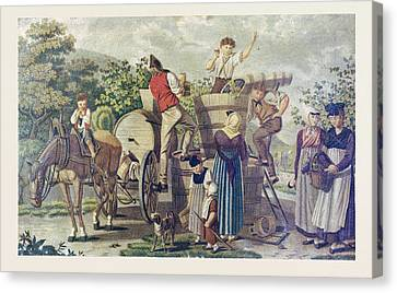 The Harvesting Of Wine Grapes, 19th Century Engraving, Time Canvas Print by English School