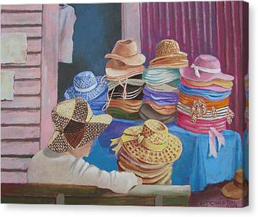 Canvas Print featuring the painting The Hat Buyer by Tony Caviston
