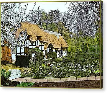The Hathaway Cottage In April Canvas Print by Mindy Newman