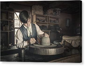 The Hatter - Millinery - Hatmaking Canvas Print by Gary Heller