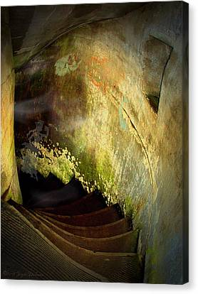 The Haunted Stairwell From The Past Canvas Print by Joyce Dickens