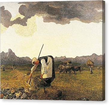 The Hay Harvest  Canvas Print by Giovanni Segantini