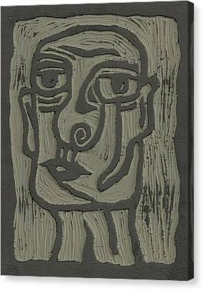The Head Linoleum Block Carving Canvas Print by Shawn Vincelette