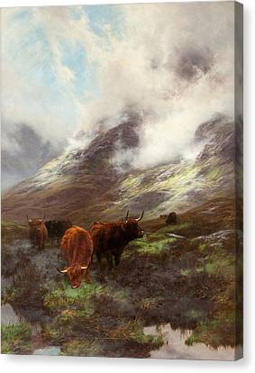 Cow Canvas Print - The Head Of The Glen, 1894 by Peter Graham