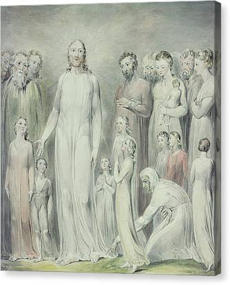 The Healing Of The Woman With An Issue Of Blood Canvas Print by William Blake