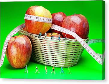 The Healthy Life II Little People On Food Canvas Print by Paul Ge