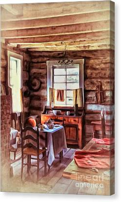 Log Cabin Canvas Print - The Heart Of The Home by Lois Bryan