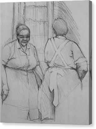 The Help - Housekeepers Of Soniat House Sketch Canvas Print by Jani Freimann