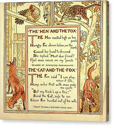 The Hen And The Fox The Cat And The Fox Canvas Print by English School