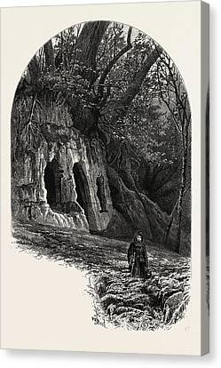 The Hermits Cave, Depedale, The Dales Of Derbyshire Canvas Print by English School