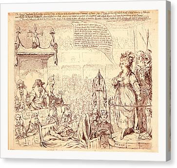 The Heroic Charlotte La Corday, Upon Her Trial, At The Bar Canvas Print