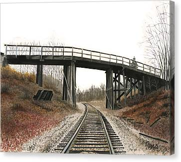 Canvas Print featuring the painting The High Bridge by Ferrel Cordle
