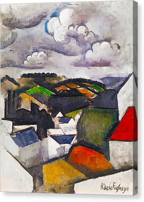 Red Roof Canvas Print - The Hills Beyond Meulan by Roger de La Fresnaye