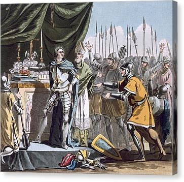 The Historic Day Of Bouvines In 1214 Canvas Print by Jacques Francois Joseph Swebach
