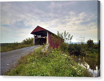 Canvas Print featuring the photograph The Historic Hayes Covered Bridge by Gene Walls