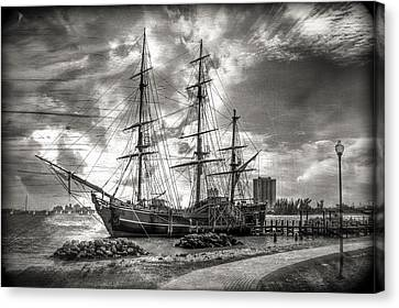 The Hms Bounty In Black And White Canvas Print by Debra and Dave Vanderlaan
