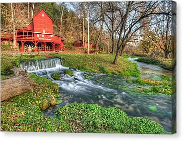 Grist Mill Canvas Print - The Hodgson Mill - Missouri by Gregory Ballos
