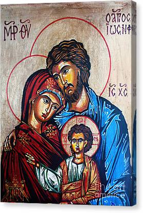 The Holy Family Icon Canvas Print by Ryszard Sleczka