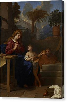 The Holy Family In Egypt Canvas Print by Charles Le Brun