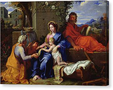 The Holy Family Canvas Print by Louis Licherie de Beuron