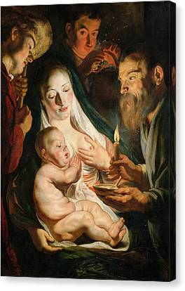 The Holy Family With Shepherds Canvas Print
