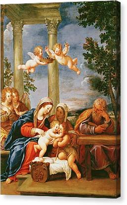 The Holy Family With St. Elizabeth And St. John The Baptist, C.1645-50 Oil On Copper Canvas Print by Francesco Albani