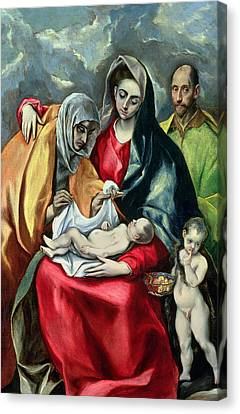 The Holy Family With St Elizabeth Canvas Print by El Greco Domenico Theotocopuli