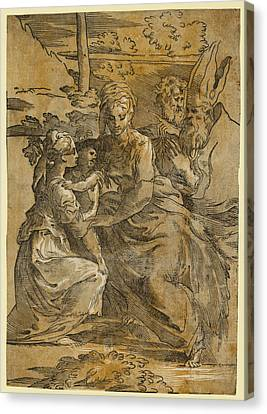 The Holy Family With St. Margaret And A Bishop Canvas Print by Da Trento, Antonio (1508?1550), Italian And, Giuseppe Niccolo Vicentino, Parmigianino, Andrea Andreani