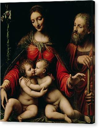 The Holy Family With The Infant St. John Canvas Print