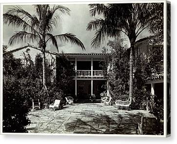 Florida House Canvas Print - The Home Of Mr. And Mrs. Huntington Hartford II by Samuel H. Gottscho