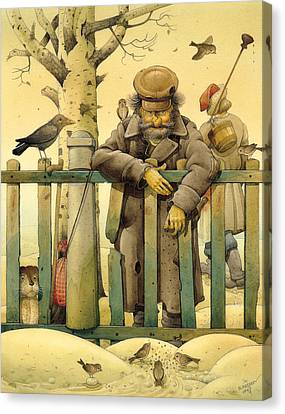 The Honest Thief 02 Illustration For Book By Dostoevsky Canvas Print by Kestutis Kasparavicius