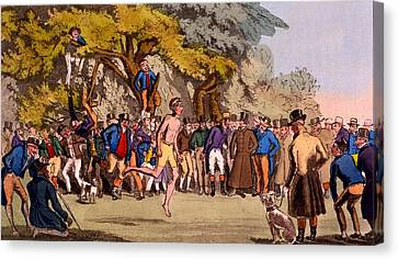 The Hopping Match On Clapham Common Canvas Print by English School