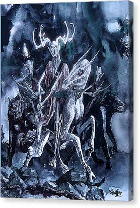 Canvas Print featuring the painting The Horned King 2 by Curtiss Shaffer
