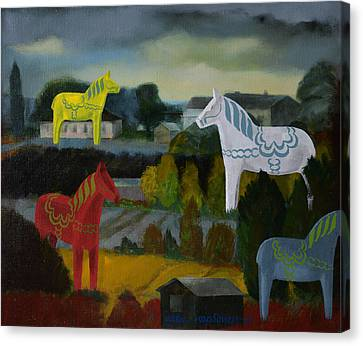 The Horses Of The Village Canvas Print by Jukka Nopsanen