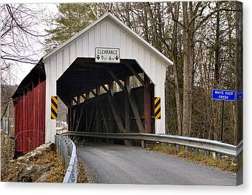 Canvas Print featuring the photograph The Horsham Covered Bridge by Gene Walls