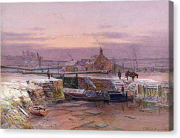 The House By The Canal Canvas Print by Charles Brooke Branwhite