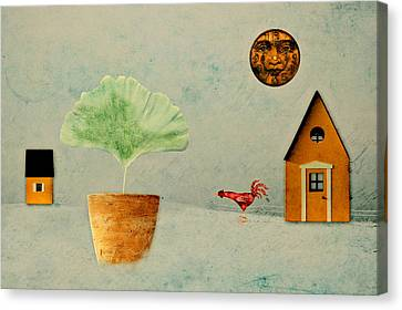 The House Next Door - B11txt2 Canvas Print by Variance Collections